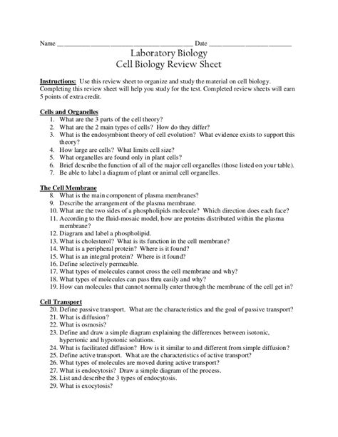 cell bio review sheet