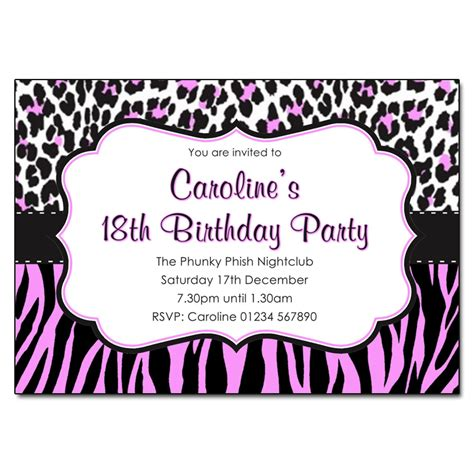 Animal Print Birthday Card Template by Animal Print Pink And Black Invitations