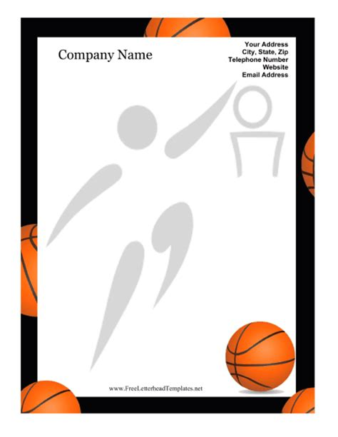 free basketball templates basketball letterhead