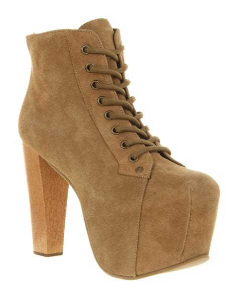 jeffrey cbell lita platform ankle boot taupe suede in