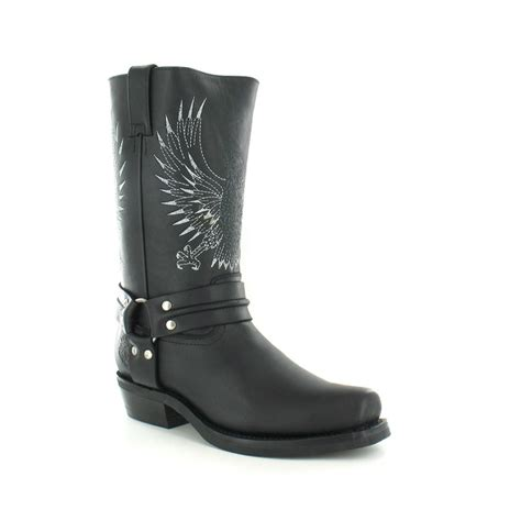 grinders 283 bald eagle mens leather cowboy boots in black