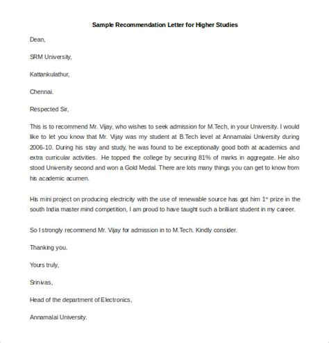 Permission Letter For Higher Studies From Employer 21 Recommendation Letter Templates Free Sle Exle Format Free Premium