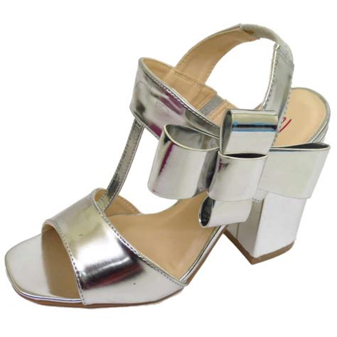 dolcis silver or pink block heel ankle peep toe