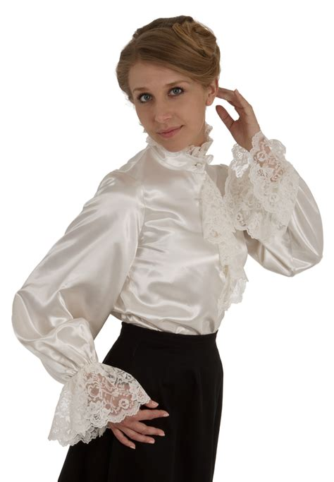 Blouse Satin Ruff Collars On Satin Blouses Ruffle Blouse