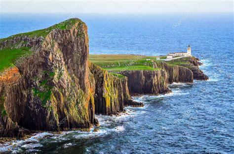 anime island stream view of neist point lighthouse and rocky ocean coastline