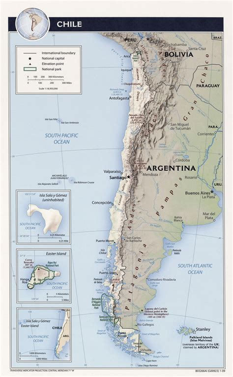 political map of chile large detailed relief and political map of chile chile