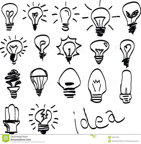 set of hand drawn light bulbs symbol of ideas stock