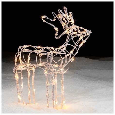 lighted white wire standing deer holiday decor shines at