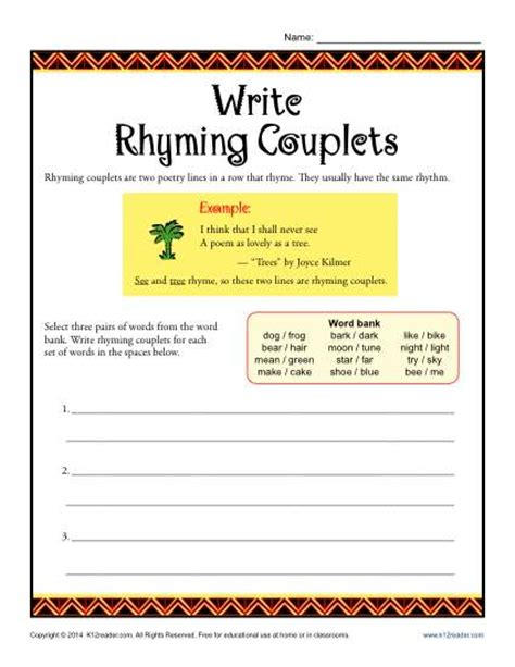 year 1 pattern and rhyme planning write rhyming couplets poetry worksheets