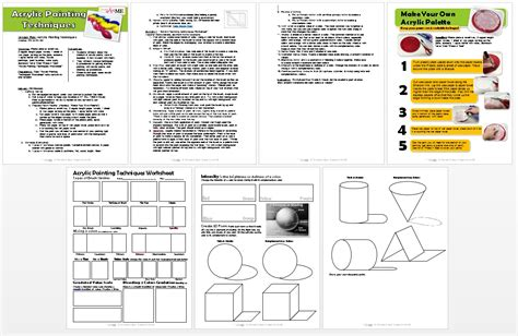 Acrylic Painting Techniques Lesson Plan Worksheet Pdf Painting Sheets