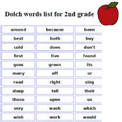 2nd grade vocabulary sight word list a complete list of the dolch