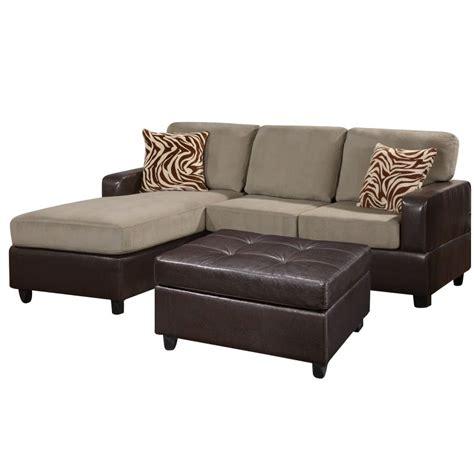 poundex bobkona sectional sofa and ottoman set poundex bobkona manhattan 3 sectional and faux