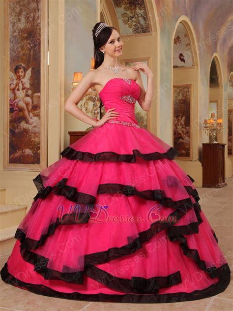 fuchsia color dress pink corset back top quinceanera dress with black bordure