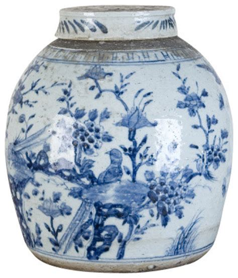 Blue And White America Style Ceramic Jars Antique Porcelain Temple Jars Home Decoration Blue And White Porcelain Jar With Antique Finish Asian Decorative Accents By Shan Hill Design