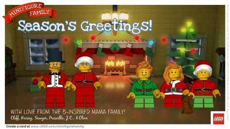 printable lego christmas cards free lego minifigure family cards for the holidays b