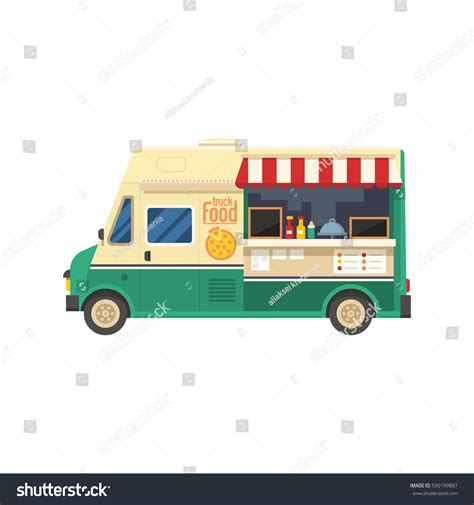 City Kitchen Food Truck by Food Truck On City Background 스톡 벡터 590199887