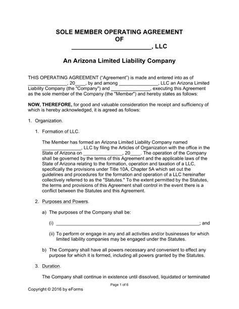 operating agreement amendment template free arizona single member llc operating agreement form