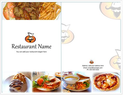 food restaurant menu template word templates