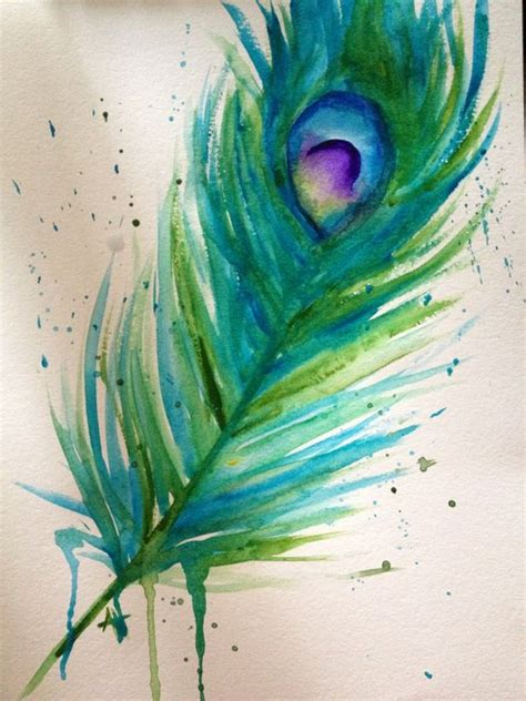 pretty peacock feather drawing creativefan watercolor peacock feather
