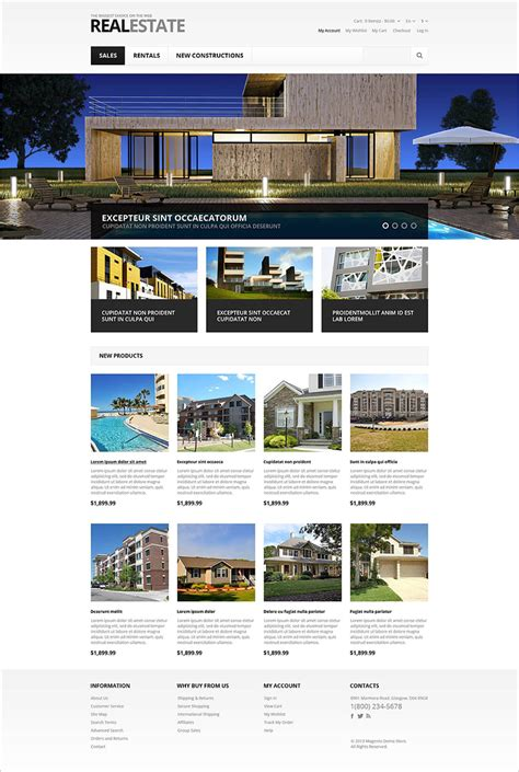 responsive template for responsive magento real estate templates free premium