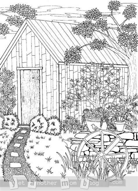 Coloring Pages Of Garden Scene | coloring page for grown ups garden scene yet another mom