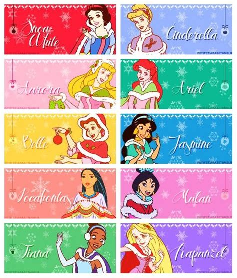 Printable Disney Princess Christmas Tags | disney princess belle dog tags princess gift tags