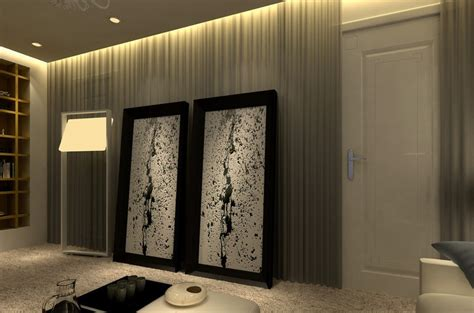 curtains on wall wall curtains and hidden lights rendering 3d house free