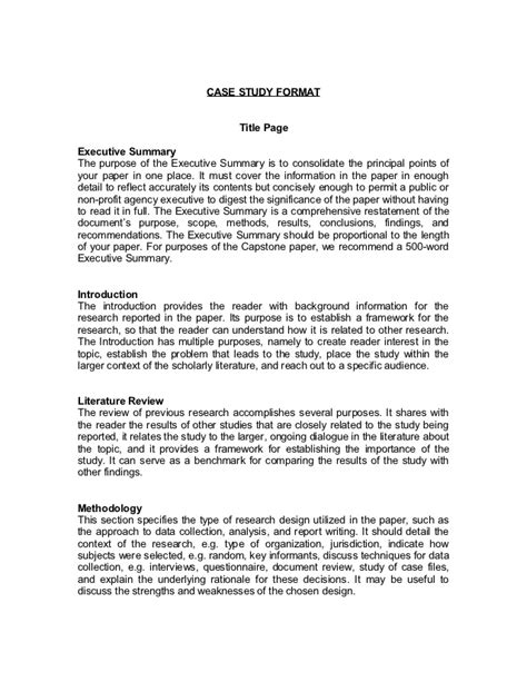 layout of a case study report case study format