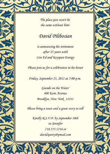 retirement party invitation rpit 21 5x7