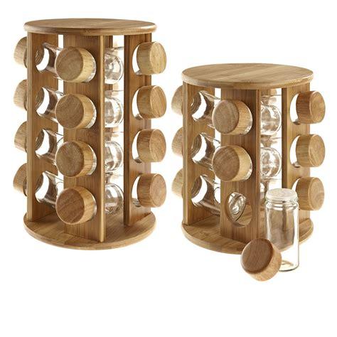 diy swivel spice rack wooden rotating revolving bamboo spice rack glass jars gift for kitchen him ebay