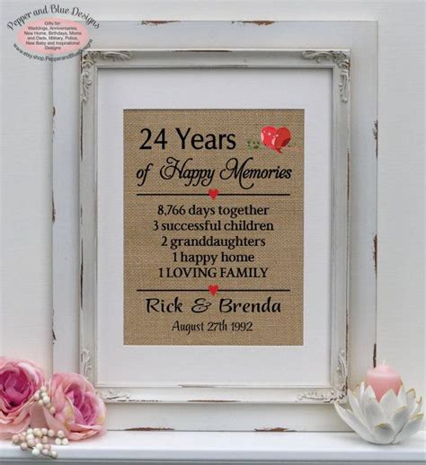 24th wedding anniversary 24 years married by pepperandbluedesigns anniversary gifts 17th
