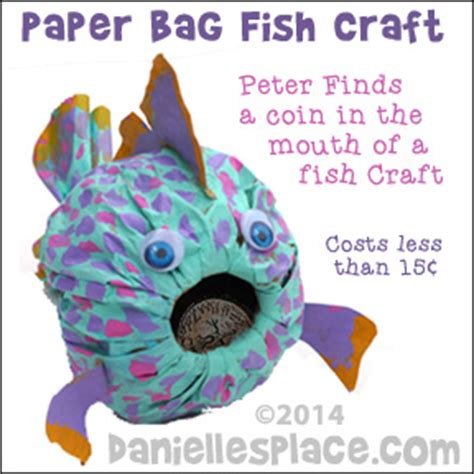 Paper Bag Fish Craft - miracles finds a coin in fishes