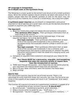 sle of synthesis essay ap language synthesis essay introduction tpt