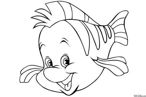 free coloring pages of flounder little mermaid