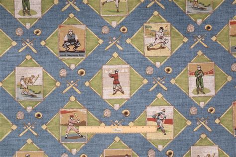 navy drapery fabric braemore american pastime printed cotton drapery fabric in