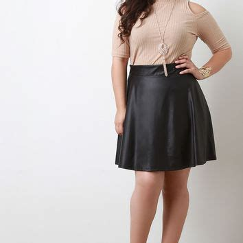 shop leather circle skirt on wanelo