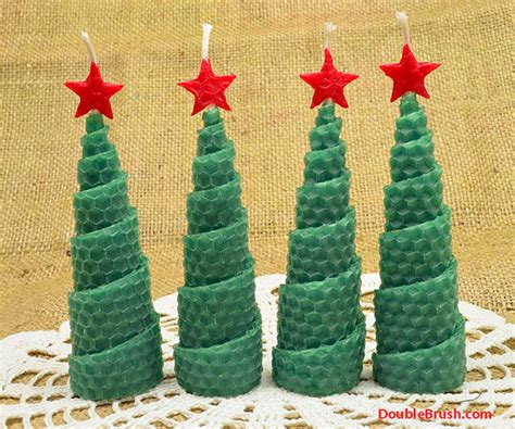 christmas tree shaped candles holiday home decor set of 4