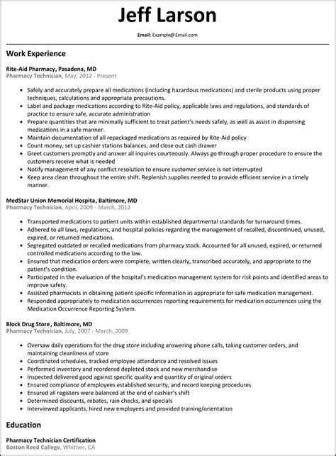 pharmacy technician resume resumesles net