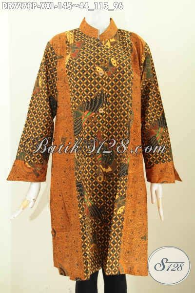 Baju Atasan Clarys Tunik Mattbalotely Kombi Tenun dress batik wanita gemuk baju batik big size desain bagus kerah shanghai berpadu kombinasi 2