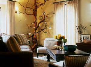 Living Room With Tree Decorating Ideas With Tree Branches Room Decorating