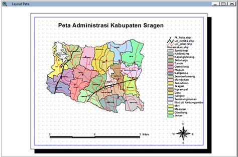 layout peta membuat peta administrasi kabupaten sragen dengan arcview