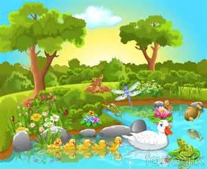 cartoon jungle animals vector illustration over millions