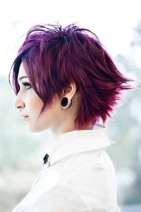 coloured short choppy emopunkgothindie hairstyle