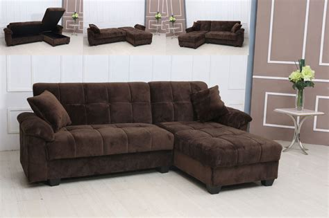 Modern Tufted Brown Microfiber Sectional Sofa Storage Modern Microfiber Sectional Sofas