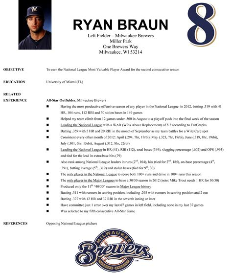 Baseball Resume Template by Resume Format Resume Format For Baseball Player