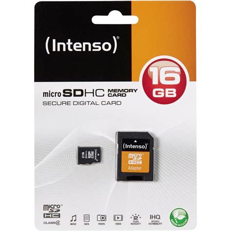 Micro Sdhc microsdhc card 16 gb intenso 16 gb micro sdhc card class 4 from conrad