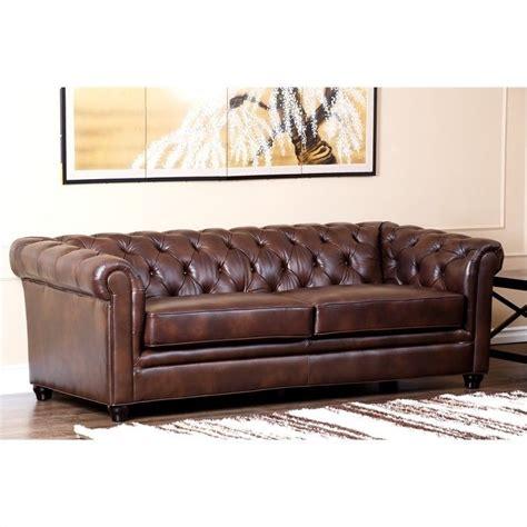 foyer sofa abbyson living foyer leather sofa in brown ci 9193 brn 3