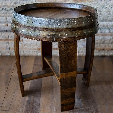Barrel Side Table Reclaimed Wine Barrel End Side Table Wine Enthusiast