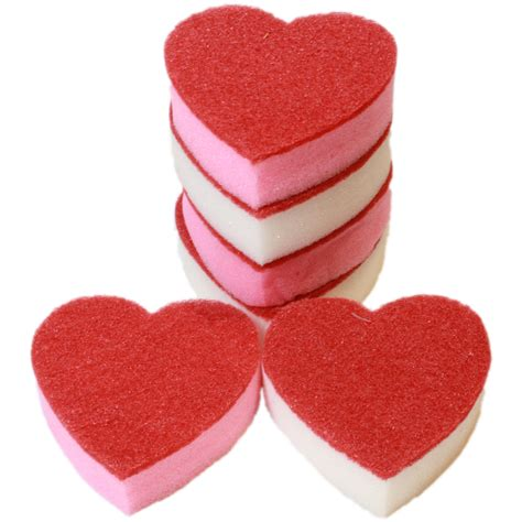 Vintage Bathroom Storage 6x Heart Shaped Washing Up Sponges For The Love Of The
