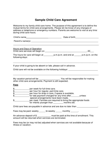 Letter Of Agreement For Child Maintenance Sle Child Care Agreement Form Free